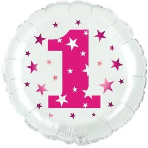 Mylar 1¡ Compleanno Rosa 18""