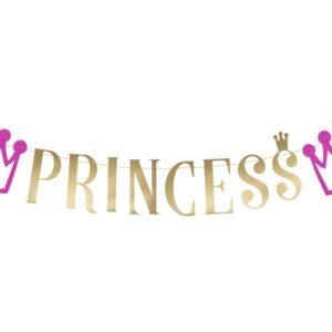 """Festone Principesse  Festone in cartoncino scritta """"princess""""  Dimensione: 13,5 x 90 cm"""