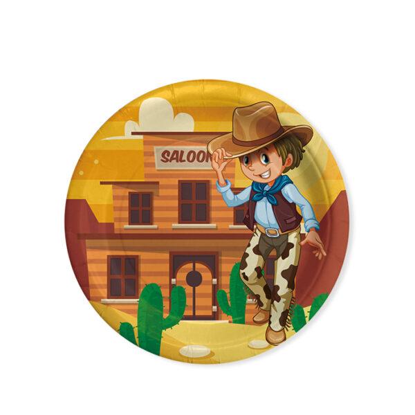Piattino festa a tema cowboy