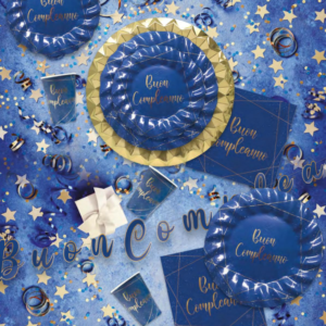 Buon compleanno blu gold