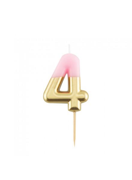 1-candelina-quattro-rosa-con-finitura-oro-metal